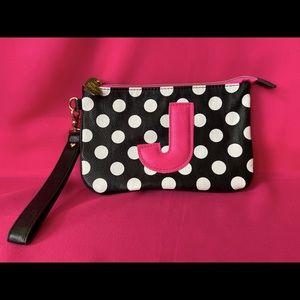 Betsy Johnson Polka Dot 'J' Wristlet Clutch Bag